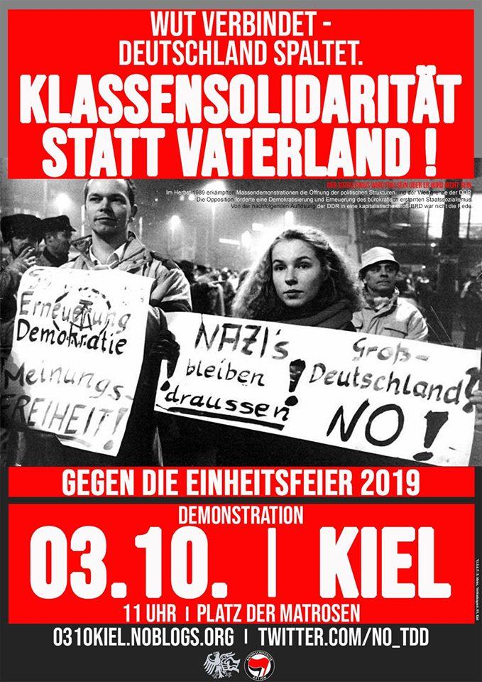 """Gegen den """"Tag der Deutschen Einheit"""" 2019 in Kiel!"""