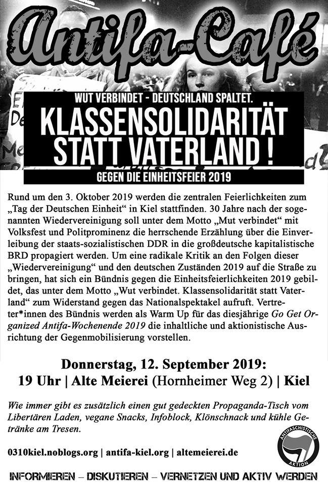 Antifa-Café mit Info- und Mobiveranstaltung gegen die Einheitsfeierlichkeiten 2019